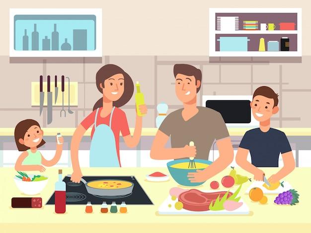 Madre y padre con hijos cocinan platos en dibujos animados de cocina