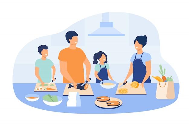 Madre y padre con niños cocinando platos en la cocina