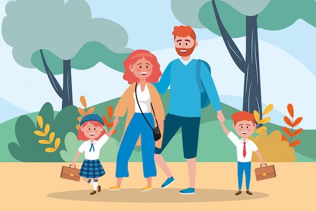 Madre y padre con sus hijas y niño studentes.