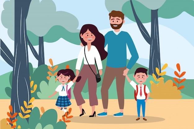 Madre y padre con sus niñas y niños estudiantes con plantas.