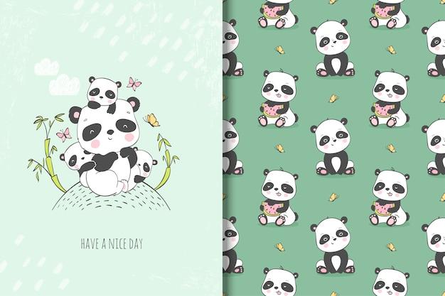 Madre panda linda con su ilustración de niños. tarjeta dibujada a mano y patrones sin fisuras