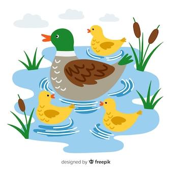 Madre pato y patitos en diseño plano
