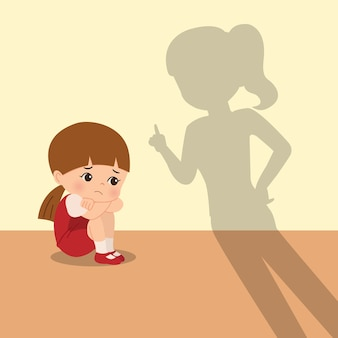 Madre regaña a su hija por ser traviesa. prediseñadas de crianza de los hijos. niña que se siente triste, asustada y disciplinada por su madre. plano aislado sobre fondo blanco.