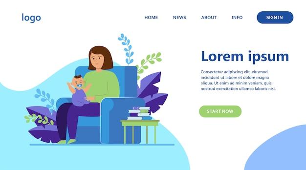 Madre sentada en un sillón y sosteniendo a un bebé