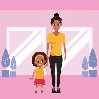 Madre soltera con dibujos animados de niños