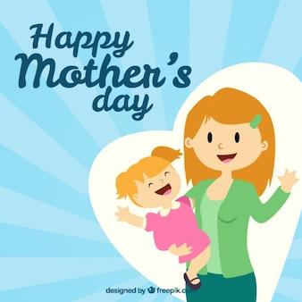 Madre con su hija dibujadas a mano