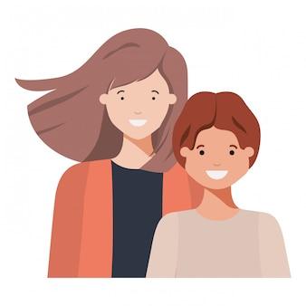 Madre con su hijo sonriente personaje avatar