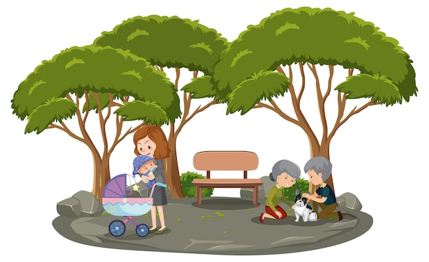 Madre con sus hijos en el parque.