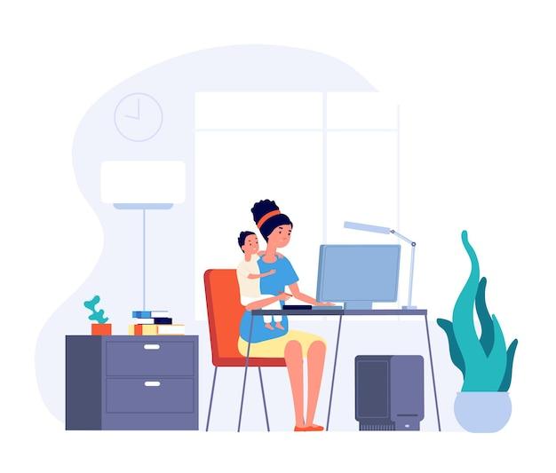 Madre trabajadora autónoma. mujer trabajando en casa y abrazos al bebé.