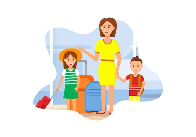 Madre viaja con personajes de hija e hijo.