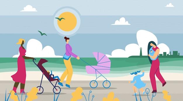 Las madres caminan con los niños a lo largo de la costa de dibujos animados.