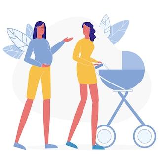 Madres felices en paseo ilustración plana