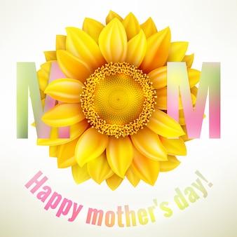 Madres felices tipográficas con girasol.