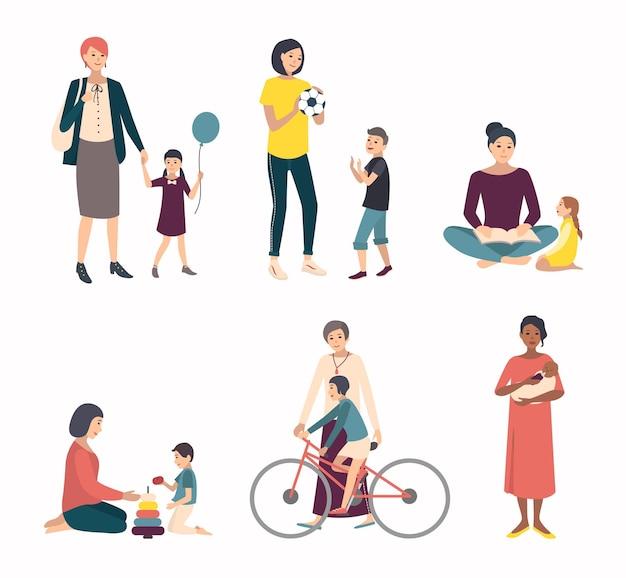 Madres con hijos, bebé. establecer con varios personajes en juegos, caminar, entrenar. coloridas ilustraciones planas.