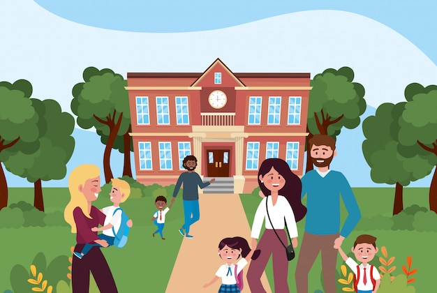 Madres y padre con sus alumnos varones y chicas en la escuela.