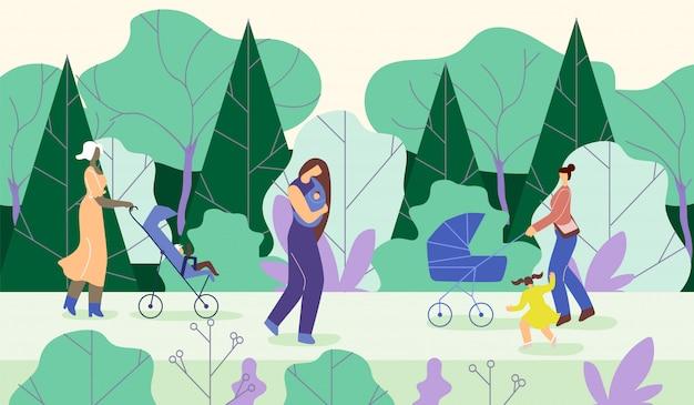 Las madres van con niños en el parque
