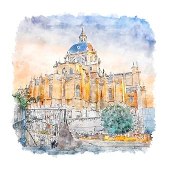 Madrid españa acuarela dibujo dibujado a mano ilustración
