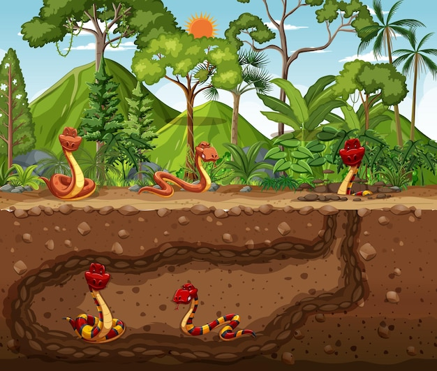 Madriguera de animales subterránea con familia de serpientes