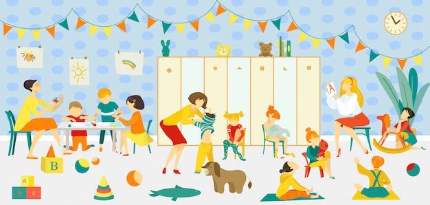 Maestra con clase de jardín de infantes, ilustración interior de classrom. educación de niños en grupo en la infancia, preescolar con carácter de niño niña. pequeños niños en la habitación, juegan con juguetes.