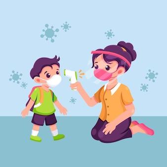 Maestra controlando la temperatura de los niños