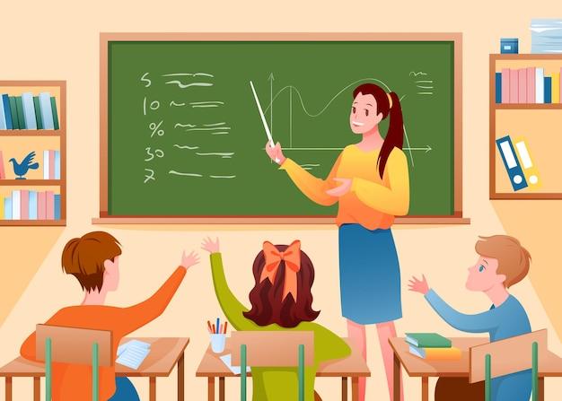 Maestra de dibujos animados enseñando a los niños con puntero de pie en la lección de la escuela de pizarra