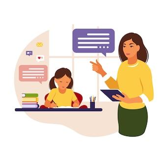 Maestra enseña a la niña en casa o en la escuela. ilustración conceptual para la escuela, la educación y la educación en el hogar. maestra ayudando a la niña con la tarea. ilustración de estilo plano.