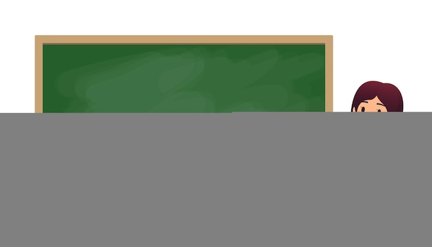 Maestra de escuela en el aula cerca de una pizarra