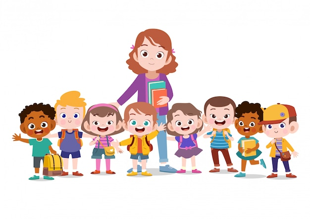 Maestra con escuela infantil