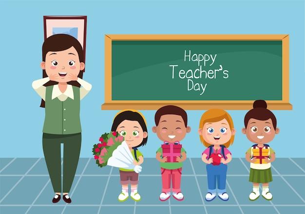 Maestra con estudiantes de niños en el aula