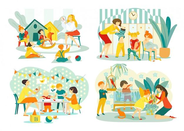 Maestra en jardín de infantes con un grupo de niños haciendo manualidades, guardería ayudando al niño a vestir el conjunto de ilustraciones. niños aprendiendo y jugando con el maestro en la guardería de jardín de infantes.
