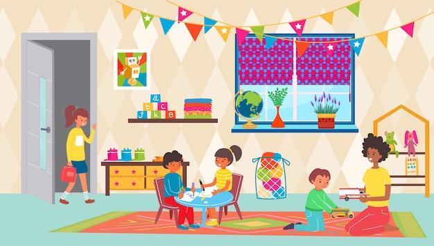 Maestra de jardín de infantes con niña niño niño jugar en la habitación