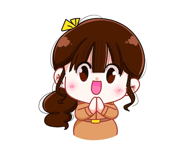 Maestra linda en uniforme del gobierno saludo con ilustración de arte de dibujos animados de personaje de mano