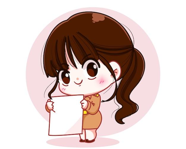 Maestra linda en uniforme del gobierno sosteniendo una ilustración de arte de dibujos animados de personaje de cartelera en blanco