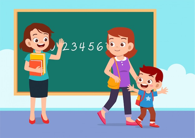 Maestra, madre y niño en clase