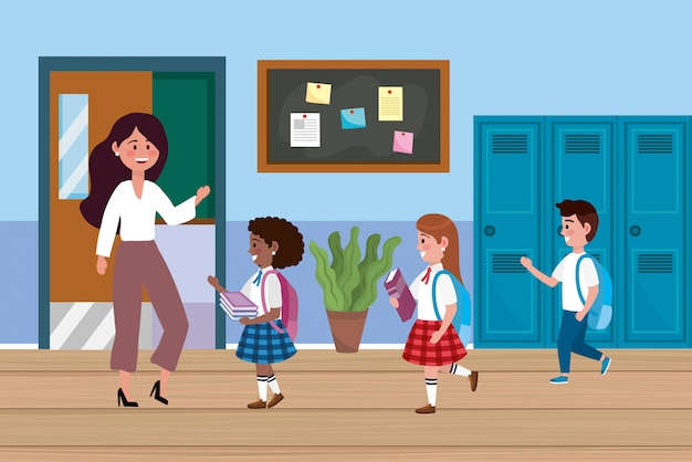 Maestra mujer con niñas y estudiantes varones.