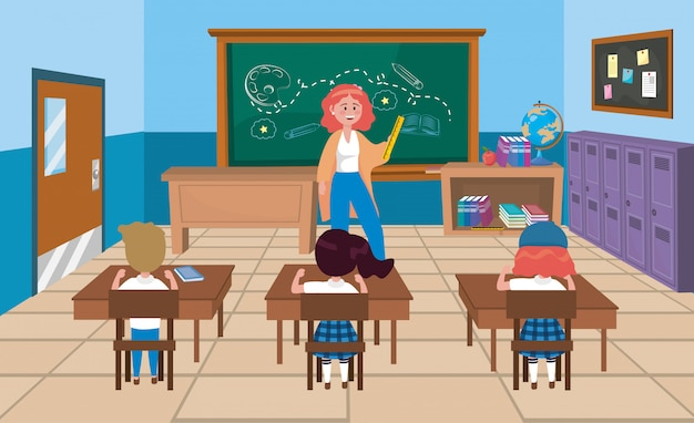 Maestra mujer con niñas y niños estudiantes con libros.