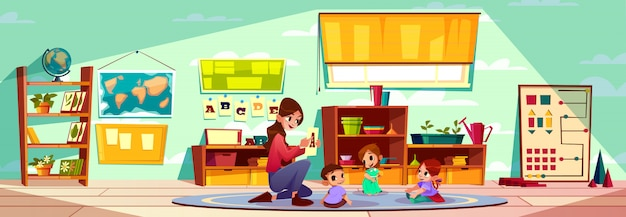 Maestra de preescolar montessori o preescolar que estudia letras del abecedario