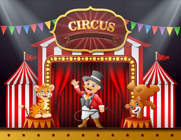 Maestro de ceremonias de dibujos animados y muchas actuaciones de animales en el escenario.