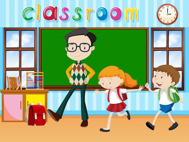 Maestro y estudiantes en la ilustración de la clase