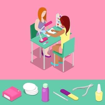 Maestro de salón de belleza hace concepto isométrico de manicura de niña. vector ilustración plana 3d