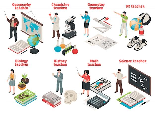 Maestros y escuela con símbolos de biología y geografía aislados isométricos