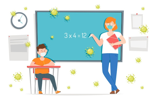 Maestros y estudiantes con mascarilla en clase