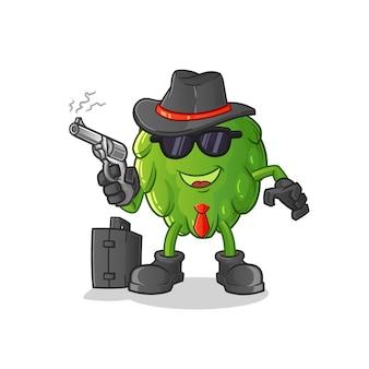 Mafia de alcachofa con carácter de pistola. mascota de dibujos animados