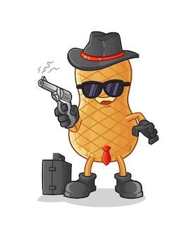 Mafia de maní con carácter de pistola aislado en blanco