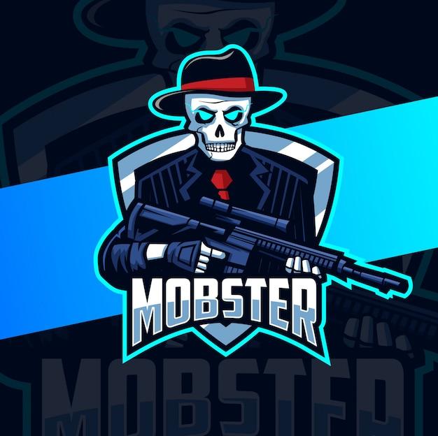 Mafioso de calavera con diseño de logotipo de mascota de pistola