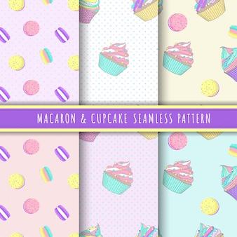 Magdalena y macarrón patrón colección sin costuras en colores pastel.