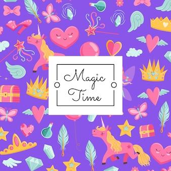 Magia de dibujos animados y cuento de hadas con unicornio