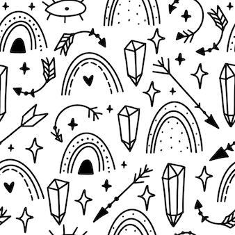 Magia doodle de patrones sin fisuras