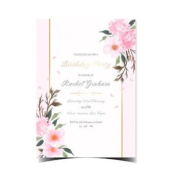 Magnífica tarjeta de invitación de cumpleaños con flor de cerezo japonesa rosa sakura