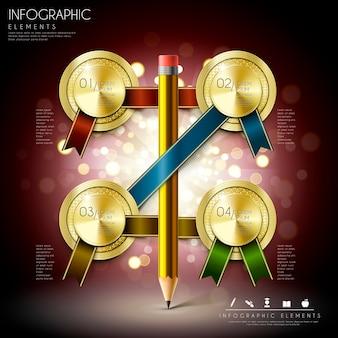 Magnífico diseño de plantillas de infografía educativa con lápiz y medallas